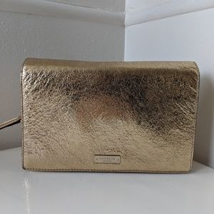 Kate Spade gold leather evening bag